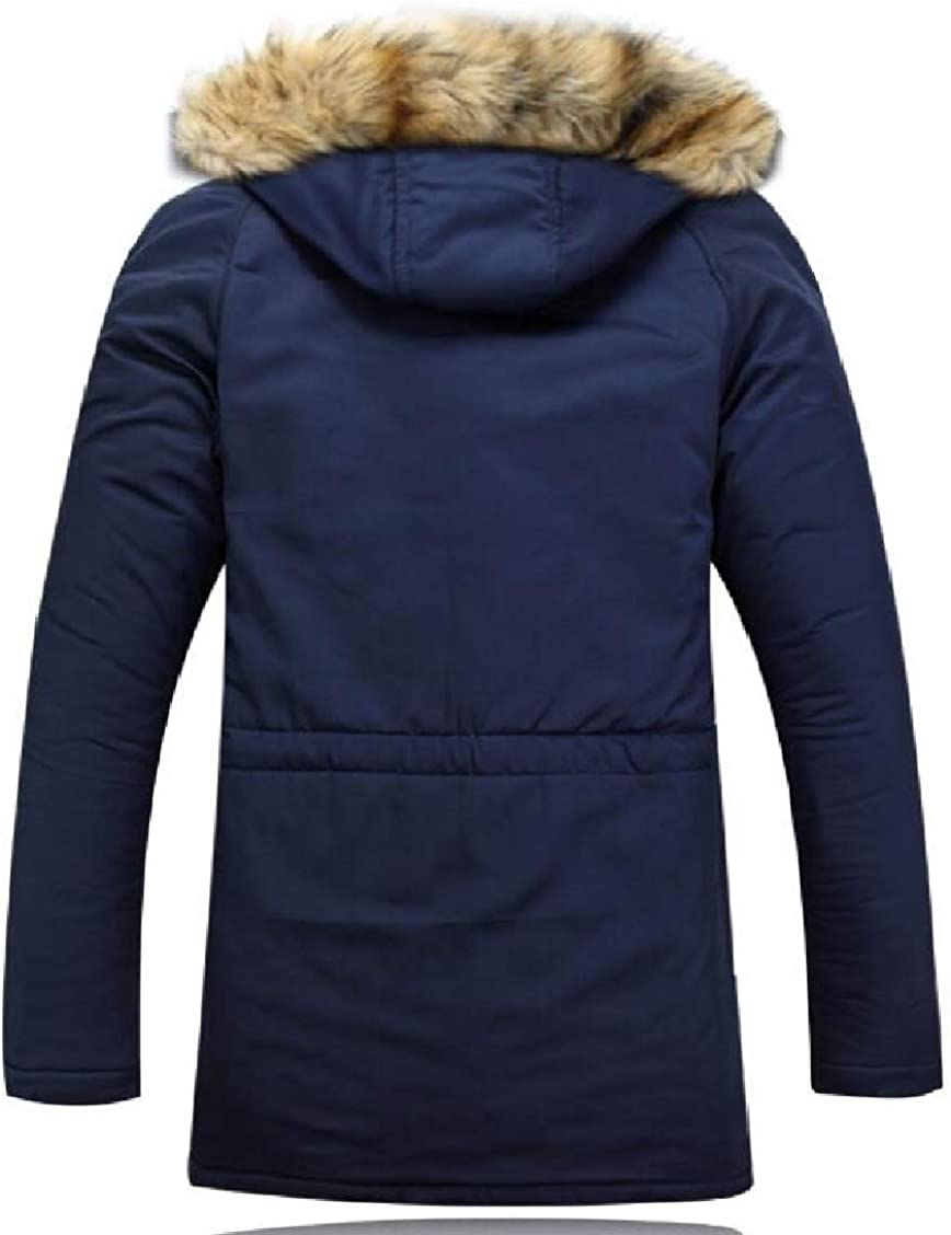 XQS Mens Winter Hooded Thick Cotton-Padded Quilted Warm Down Jacket