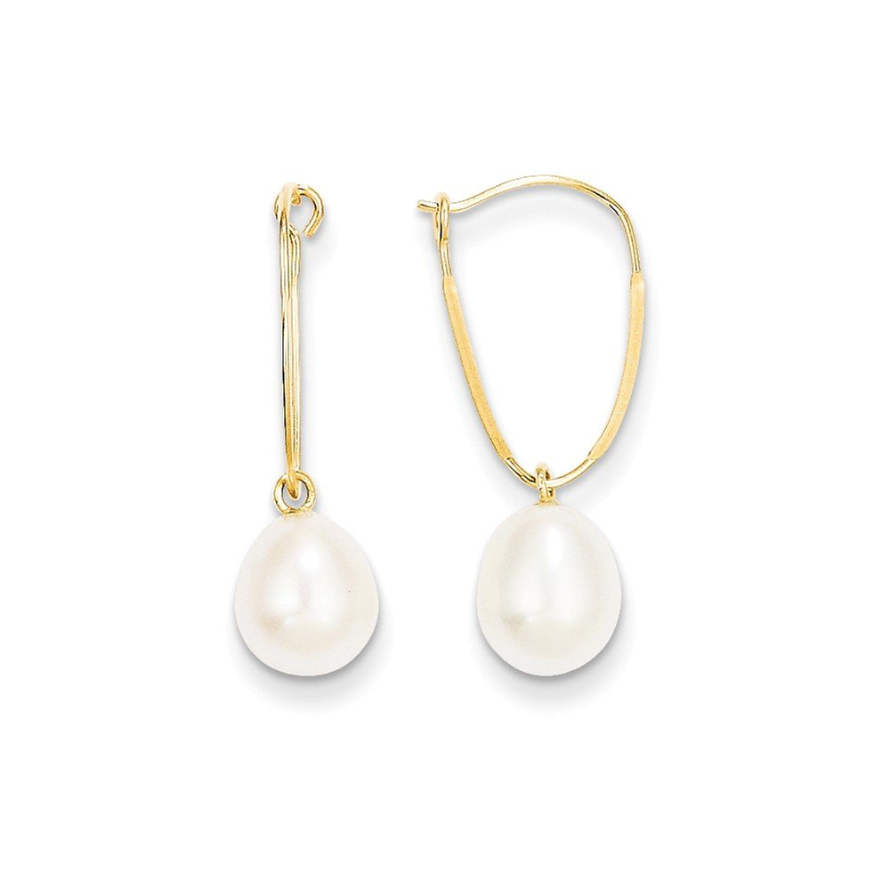 14k Madi K 7mm Freshwater Cultured Pearl Dangle Earrings