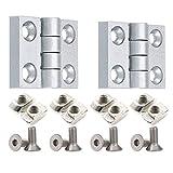 PZRT Aluminum Profile Hinge Install Kit, 2 x Zinc Alloy Hinge,8 x M5 T-Nuts, 8 x M5 Hex Socket Flat Head Screw,for 2020 Serie 6mm Slot Aluminum Profile Extrusion Frame