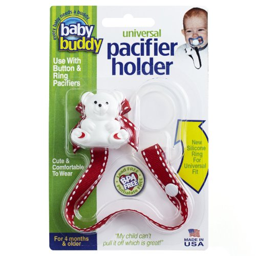 Baby Buddy Universal Pacifier Holder, Red with White
