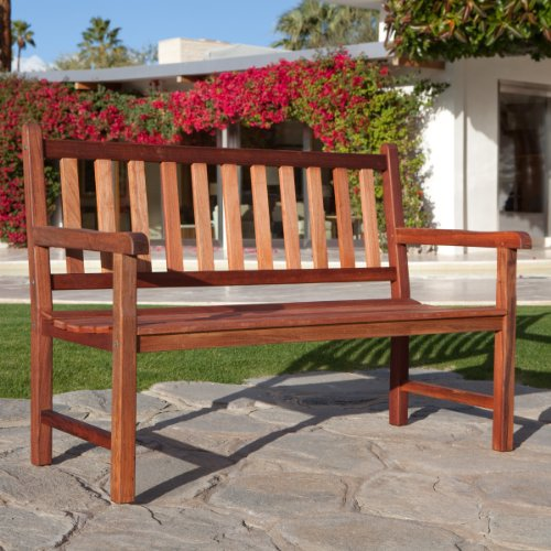 (Belham Living Richmond Curved-Back 4-ft. Outdoor Wood Bench)
