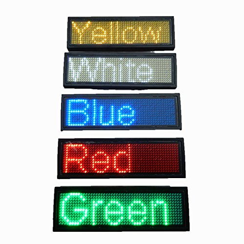Youji LED Programmable Scrolling Name Tag Badge-Red Message Display Board Digital Moving Sign USB Rechargeable ID Tag for Restaurant Shop Exhibition Nightclub Hotel