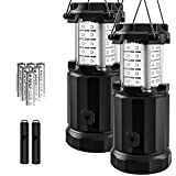 Etekcity 2 Pack Portable Outdoor LED Camping Lantern Flashlights with 6 AA Batteries - Survival Kit for Emergency, Hurricane, Storm, Outage (Black, Collapsible) (Upgraded CL30)