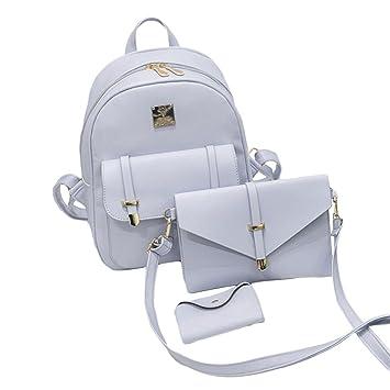 Hongxin piel mochila mujer Cute 3 Conjuntos bolsa escuela Mochilas, 1 x bolsa de hombro bolsa de hombro + 1 x + 1 x de tarjetas (gris gris: Amazon.es: ...