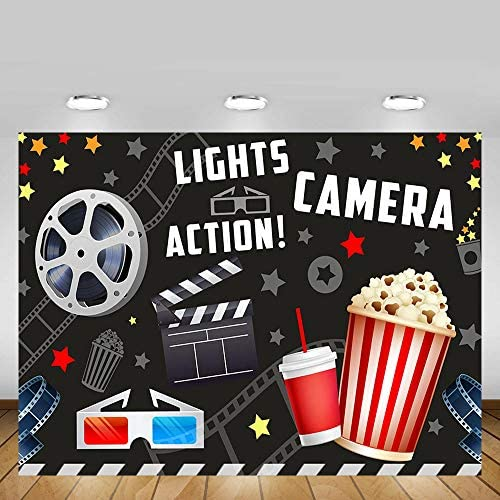 MEHOFOTO Vintage Movie Birthday Party Decorations Banner Photo Studio Booth Background Movie Night Lights Camera Action Dress-up Black Backdrops Props for Photography 7x5ft