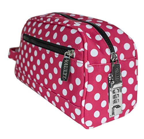 Vaultz Locking Nylon Travel Kit, 10 x 5.75 x 5 Inches, Pink/White Polka Dots (VZ03512)