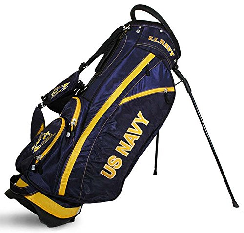 TEAM GOLF Military Navy Fairway Golf Stand Bag, Lightweight, 14-Way Top, Spring Action Stand, Insulated Cooler Pocket, Padded Strap, Umbrella Holder & Removable Rain Hood (Golf Umbrella Army)