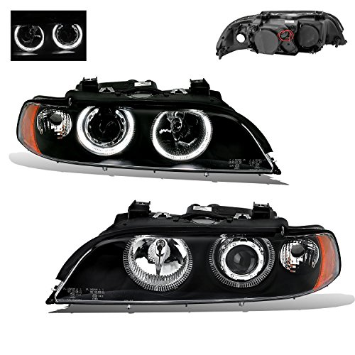 (SPPC Projector Headlights Black Assembly Set Dual Halo Reflector For BMW 5 Series E39 - (Pair) Driver Left and Passenger Right Side Replacement Headlamp)