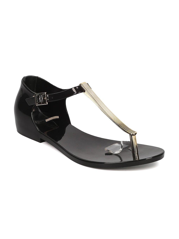 Melissa Honey Chrome Jelly Metallic T-Strap Flat Sandal GH17 B06XYS82NZ 7 B(M) US|Black