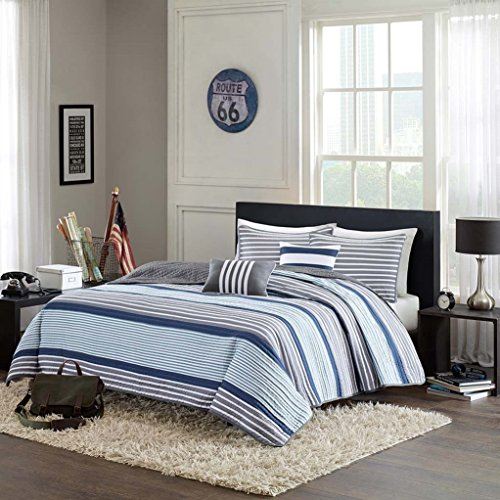 Blue, White & Gray Nautical Stripe Boys Full / Queen Quilt, Shams & Toss Pillows (5 Piece Bedding) + HOMEMADE WAX MELT