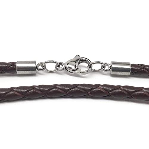 db191996d04e2 Loralyn Designs 3mm Men s Brown Braided Leather Necklace Cord with Stainless  Steel Lobster Clasp (16