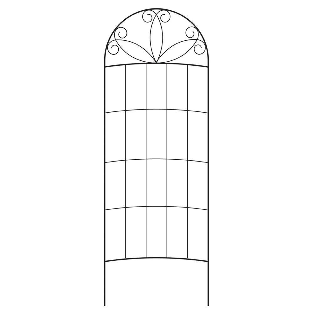 80 in. Black Steel Scroll Curved Trellis