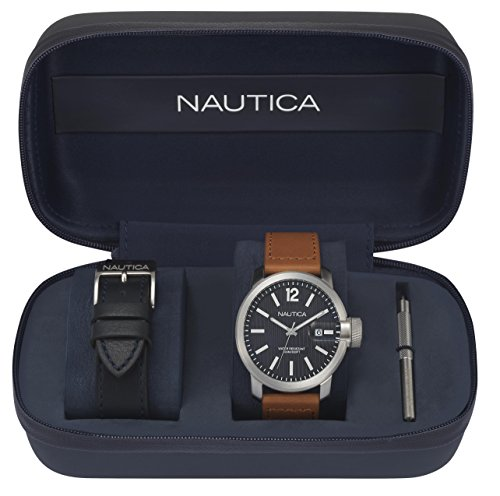 Nautica Men's 'SYD SYDNEY' Quartz Stainless Steel and Leather Sport Watch, Color:Blue (Model: NAPSYD012)