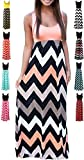 HanDanGe Women's Summer Chevron Striped Print Dress Tank Long Maxi Dresses For Women Pink-B-S