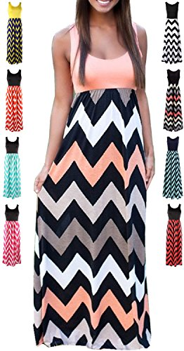 HanDanGe Women's Summer Chevron Striped Print Dress Tank Long Maxi Dresses for Women Pink-B-XXL