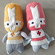 Soft Toys,Castle Crashers Red Orange Knight Stuffed Plush Toy 20cm Set of 2 Detazhi