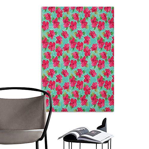 Wall Mural Wallpaper Stickers Hawaiian Botanical Garden Pattern with Pink Hibiscus Blossoms Aloha Nature Seafoam Magenta and Green TV Backdrop Wall W24 x -