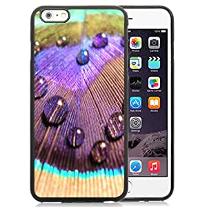 Fashionable Custom Designed iPhone 6 Plus 5.5 Inch Phone Case With Peacock Colorful Feather Dew_Black Phone Case