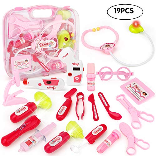 - JoyGrow Doctor Kit with Electronic Stethoscope 19 PCS Pretend Play Medical Toys Set Pack in Pink Durable Gift Case Doctor Toys for Girls and Kids