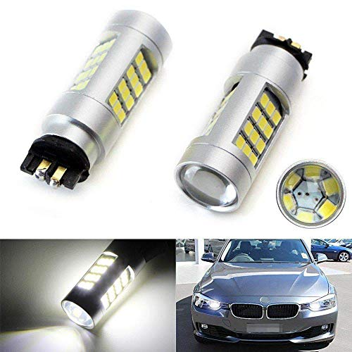 iJDMTOY (2) 6K Xenon White 42-SMD PW24W LED Bulbs Compatible With BMW F30 3 Series Halogen Headlamp Daytime Running Lights