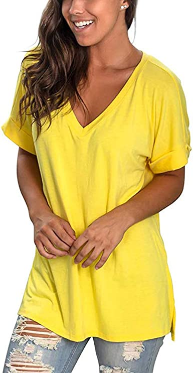 Femme été à manches courtes T Shirt Femme Casual Lâche T-shirt Chemisier Tops T Shirt