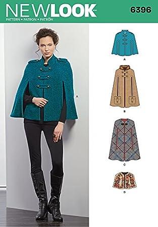 New Look Damen-Schnittmuster 6396 für Umhänge, Mäntel: Amazon.de ...