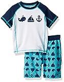 Baby Buns Baby Boys Two Piece Come Sail Away Rashguard Swimsuit Set, Multi, 24M