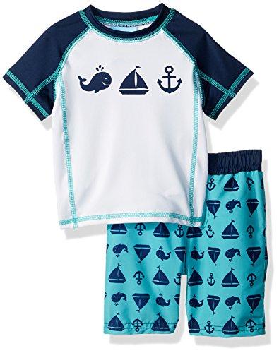 Baby Buns Baby Boys Two Piece Come Sail Away Rashguard Swimsuit Set, Multi, 24M by Baby Bunz
