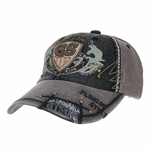 WITHMOONS Baseballmütze Vintage Cotton Baseball Cap Destressed Trucker Hat LX1197 (Black)