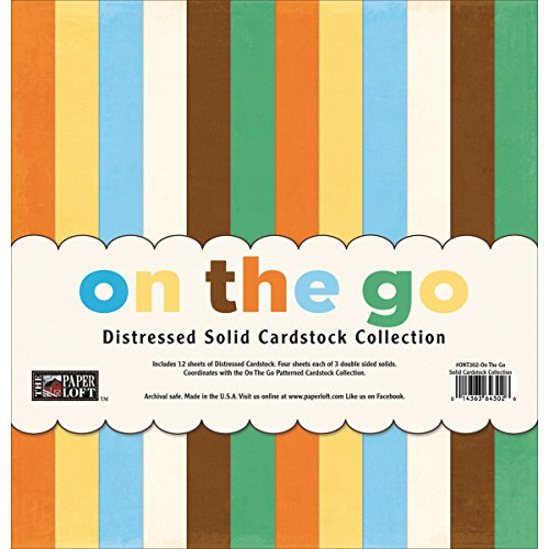 Paper Loft The Paper Loft Cardstock Pack, 12 x 12-Inch, On The Go Distressed Solids, 12-Pack