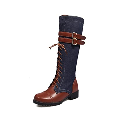 aafba1fb828 Women Vintage Zip Military Combat Boots Lace Up Buckle Knee High Denim  Flats Knight Riding Boots
