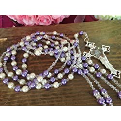 Swarovski Lilac and Cream Color Pearls Wedding Lasso/laso De Boda/Crystal Pearls Wedding Rosary Silver Plated Lazo De Boda Perlas Lilac