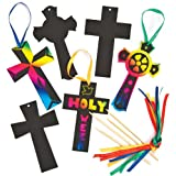 Baker Ross Scratch Art Crosses (Pack of 12) For Kids To Decorate, Arts and Crafts