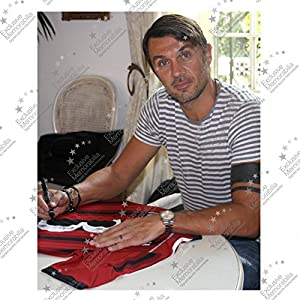 Paolo Maldini Signed AC Milan Soccer Jersey In Deluxe Black Frame With Silver Inlay