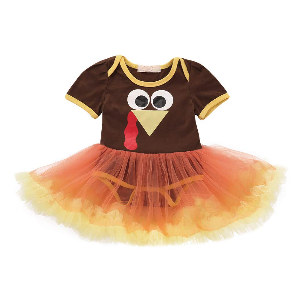 Theshy Infant Toddler Baby Girls Turkey Thanksgiving Day Gauze Tutu Dress Outfit