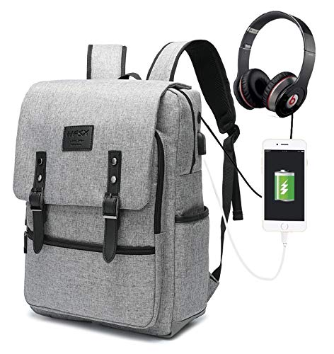 HFSX Vintage Laptop Backpack for Women Men School College Backpack with USB Charging Port Fashion Backpack Fits 15.6 inch Notebook Grey