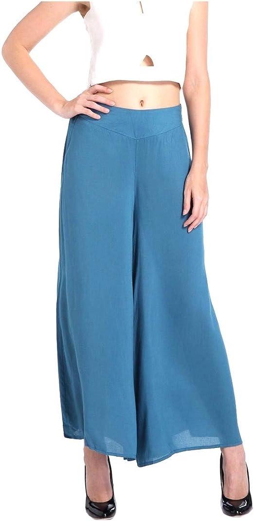 Tootess Women Slim Solid Colored Wide Leg Elastic Waist Summer Tenths Pants
