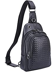 Banuce Mens Leather Versatile Sling Bag Shoulder Chest Packs Crossbody Backpack