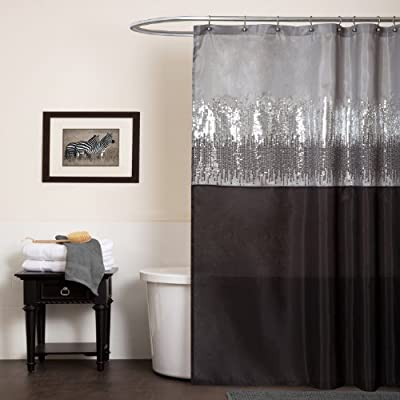 "Lush Decor Night Sky Shower Curtain | Sequin Fabric Shimmery Color Block Design for Bathroom, 72"" x 72"", Black and Gray - This sparkling shower curtain will add a glamorous touch to your bathroom and enhance any space. Lush Décor Night Sky is the ideal shower curtain for your modern or traditional style bathroom. Bold, black and gray fabric shower curtain with a shimmery, sequin panel for an eye-catching design. - shower-curtains, bathroom-linens, bathroom - 5199hEd2qBL. SS400  -"