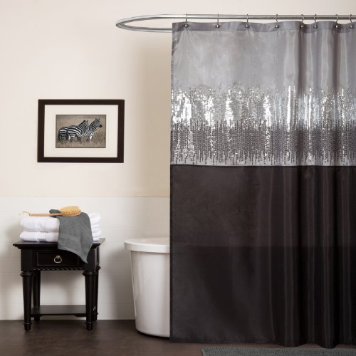 Night Sky Shower Curtain, 72-Inch by 72-Inch, Black/Gray