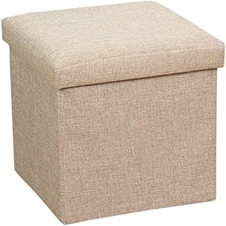 Dasior Folding Cube Storage Ottoman,Solid Linen Collapsible Seat Stool Box Organizer Footrest Beige