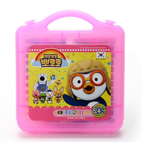 PORORO Character 24 Colors Crayon Non-Toxic Oil Pastel Crayon with Case Art Tools, Drawing Supplies, School Art Supplies, Great for Artists 2.9 Inch (PInk) (Box School Tool)