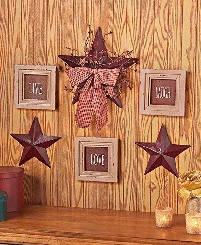 6 Pc Inspirational Sentiment Star Wall Frame Decor (Burgundy Live Love Laugh)