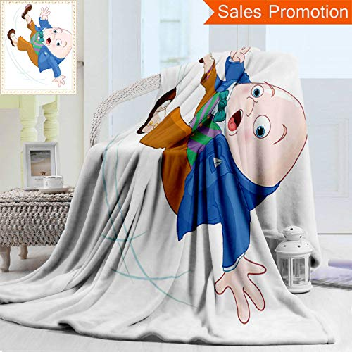 Unique Custom Warm 3D Print Flannel Blanket Alice In Wonderland Decorations Collection Humpty Dumpty Egg Fall Down Transformation Cozy Plush Supersoft Blankets for Couch Bed, Throw Blanket 40