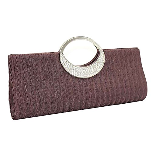 Satin Color Verus Party Bag Wedding Rhinestone Diamante Deep Coffee Handbags Purse Pleated Women Clutch Wallet pnxSqFCw