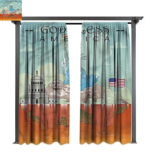 cobeDecor Outdoor Curtain American USA National Heritages for Lawn & Garden, Water & Wind Proof W120 xL108
