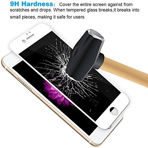 Screen Protectors for iPhone7/8 Tempered Glass 6D 9H Hardness Full Screen Coverage Bubble-Free/Anti-Scratch/High Definition Apple iPhone Screen Protector(1pack) (White) by General (Image #4)