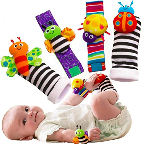 Foot Finders & Wrist Rattles for Infants Developmental Texture Toys for Babies & Infant Toy Socks & Baby Wrist Rattle - Newborn Toys for Baby Girls & Boys. Baby Boy Girl Toys 0-3 3-6 & 6 to 12 Months