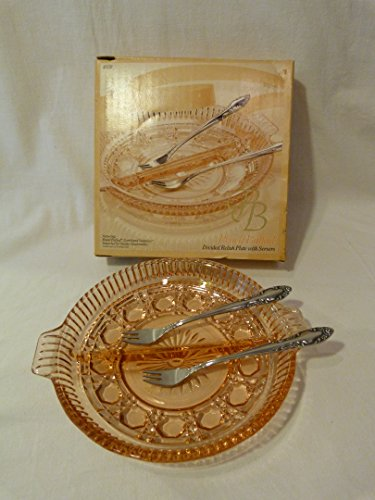 Indiana Glass New Old Stock Vintage Peach Ballad Cranberry Divided Relish Plate with Stainless Servers ()