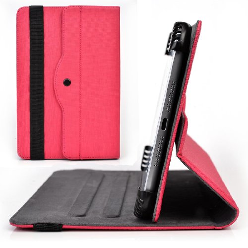 Neon Pink Rotating Case Fits HP 7 G2 7-Inch, Slate 7 HD VoiceTab Ultra Plus Extreme Tablet | Solid Portrait or Landscape Orientation 360 Stand Cover (Hp 7 G2 Case Orange)